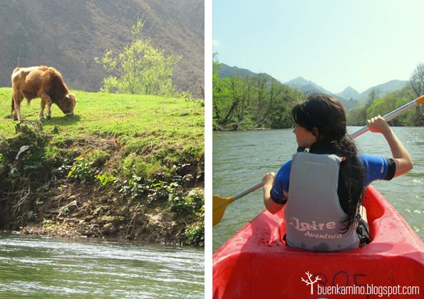Remando en el Descenso del sella y orilla junto al río