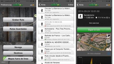 App wikiloc menu
