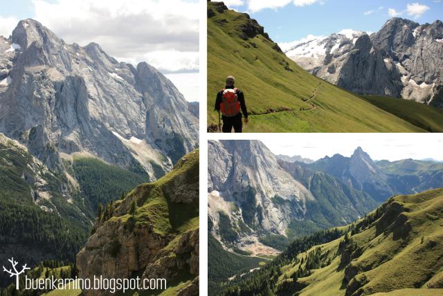 Senderismo por el Glacias de la marmolada y descenso al Lago Fedaia.