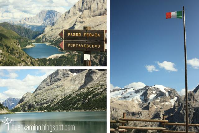 Mirador del Refugio Viel del Pan ruta Marmolada Lago Fedaia