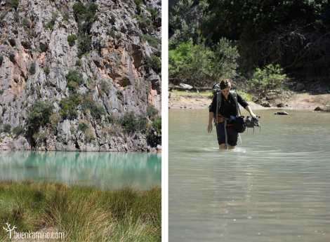 Cruzando el agua Cala Sa Calobra